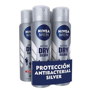 Pack 4X Desodorante Spray Silver Active Dry 150 mL
