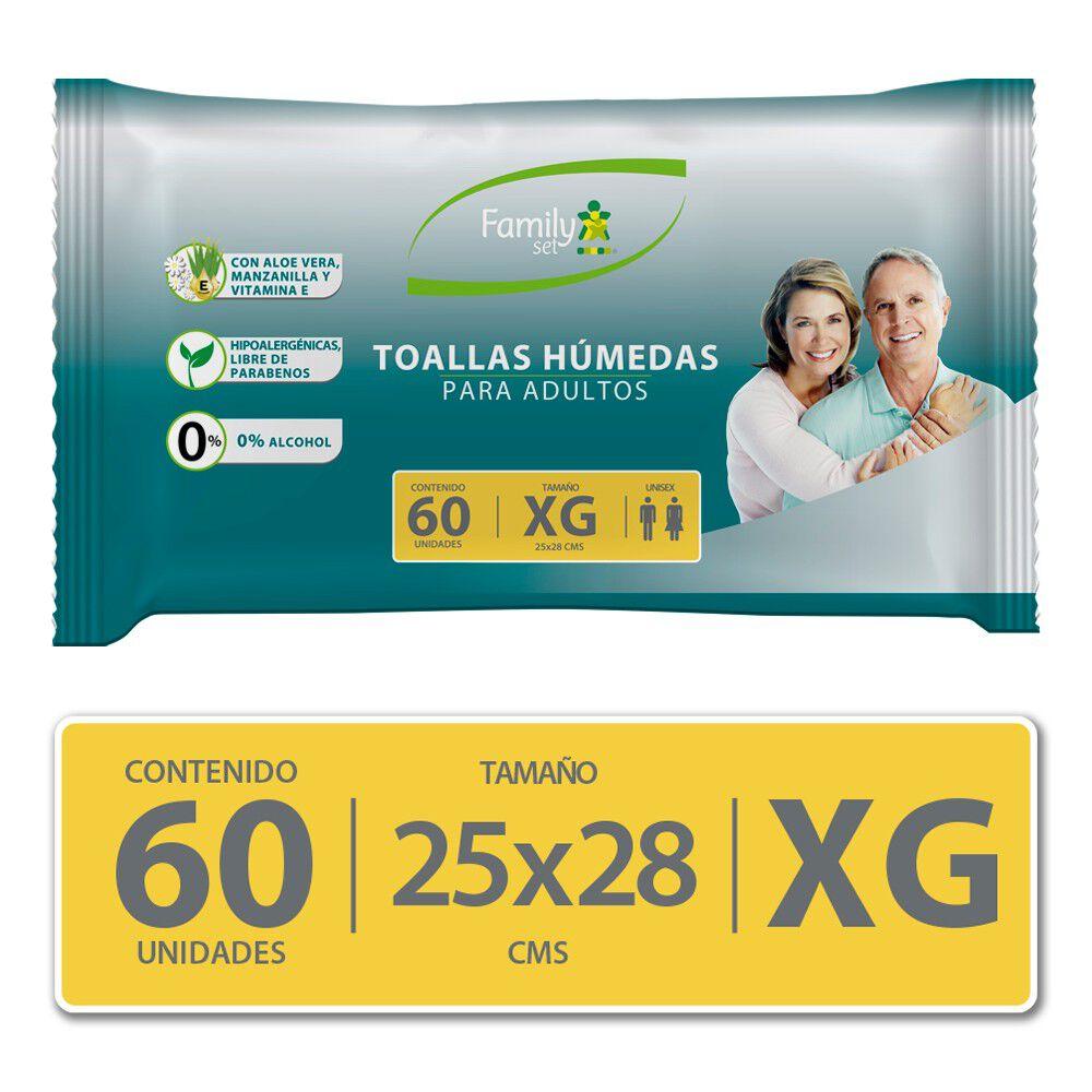 Toallas Húmedas Para Adultos Sin Tapa Tamaño Xg X60 image number null