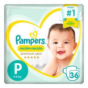 Premium Care Recién Nacido Pañales Desechables P 36 Unidades