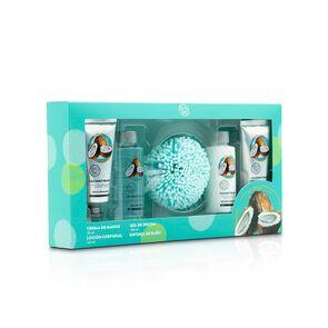 Set Crema de Manos Coco 50 mL X2 + Shower Gel 100 mL + Esponja + Body Loción 100 mL