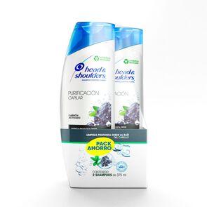Pack Shampoo Purificacion Capilar Carbón Activo 2 unidades 375 mL